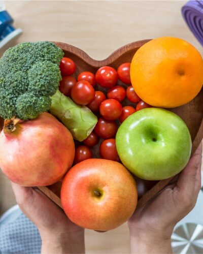 fruit and veg in heart shaped bowl