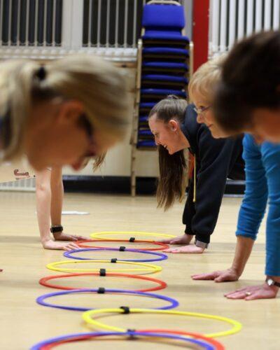 Ladies doing yoga